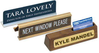 Check out our selection of desk name plates. Choose Font Style, engraved with custom name, title or custom text. Low Prices