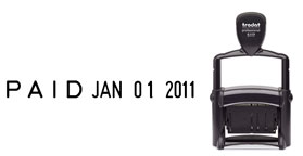 Date stamp with Phrases: REC'D, ENT'D, ANS'D, PAID, SHIP'D, CHG'D, RET'D, BAL., CAN., C.O.D., FILED, FILLED. Black ink pad included.