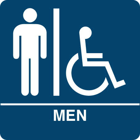 "Kroy ADA regulatory ISA MEN Restroom signs with tactile braille. Durable and tough injection molded ABS plastic 8"" x 8"" in blue."