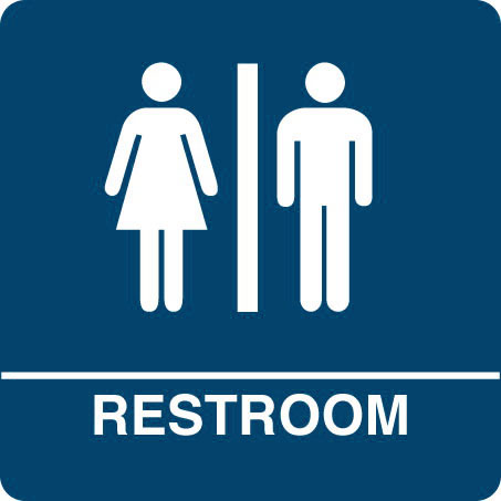 "Kroy ADA regulatory Restroom signs with tactile braille. Durable and tough injection molded ABS plastic 8"" x 8"" in blue."