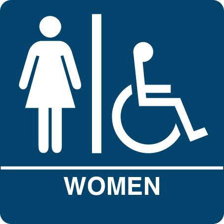 "Kroy ADA regulatory WOMEN ISA Restroom signs with tactile braille. Durable and tough injection molded ABS plastic 8"" x 8"" in blue."