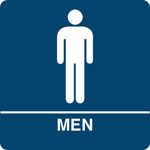 "Kroy ADA regulatory MEN Restroom signs with tactile braille. Durable and tough injection molded ABS plastic 8"" x 8"" in blue."
