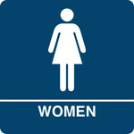 "Kroy ADA regulatory WOMEN Restroom signs with tactile braille. Durable and tough injection molded ABS plastic 8"" x 8"" in blue."